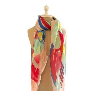LOFT abstract scarf spring peach mint blue red